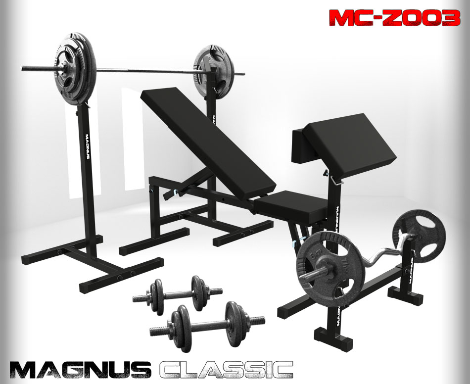 Bench with weight set 155 kg Magnus Classic MC-Z003