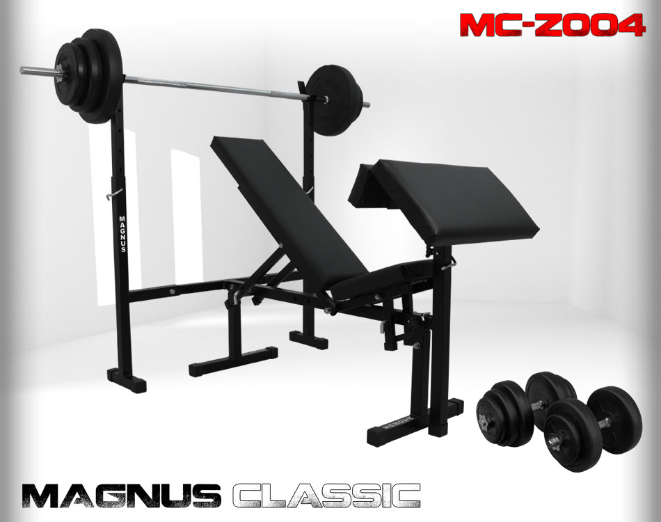 Bench with weight set 76kg Magnus Classic MC-Z004