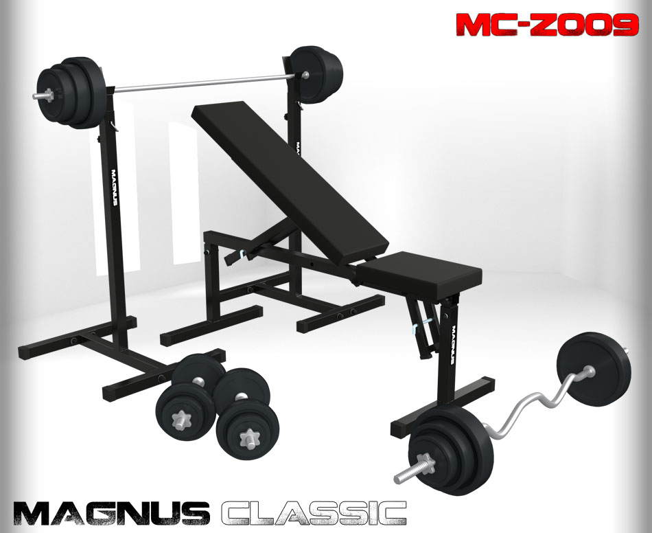 Bench with weight set 124 kg Magnus Classic MC-Z009