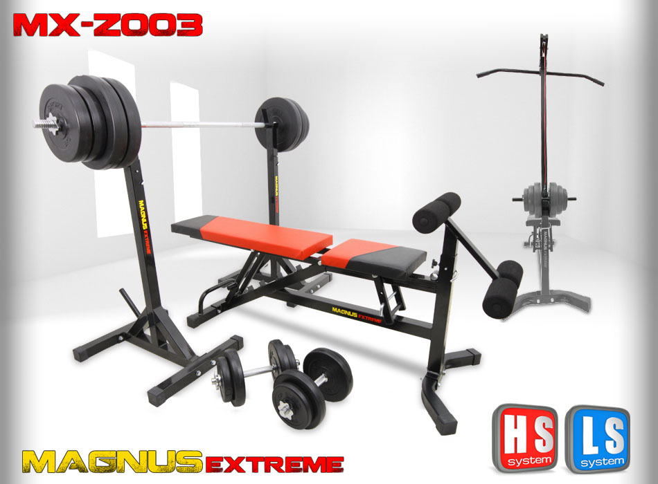 Bench with weight set Magnus Extreme MX-Z003 148 kg