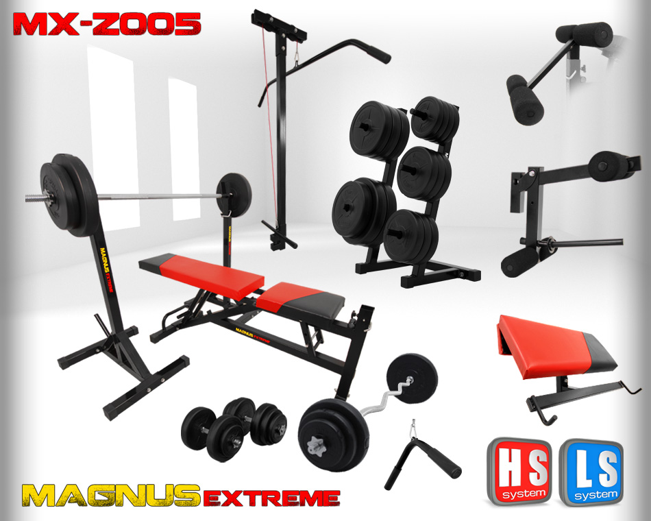 Bench with weight set Magnus Extreme MX-Z005 214 kg