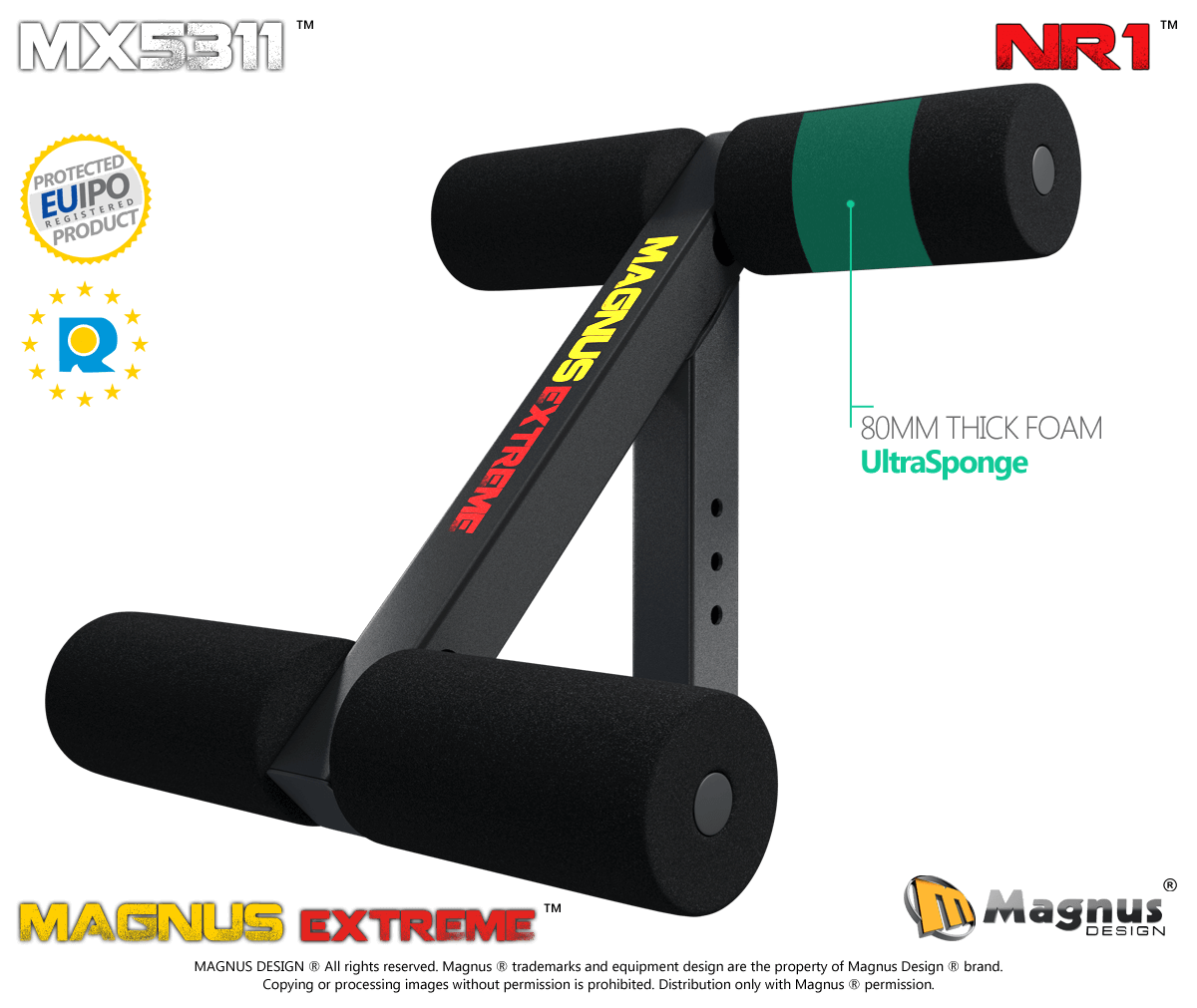 Durable and solid thigs lock down for abs training from Magnus