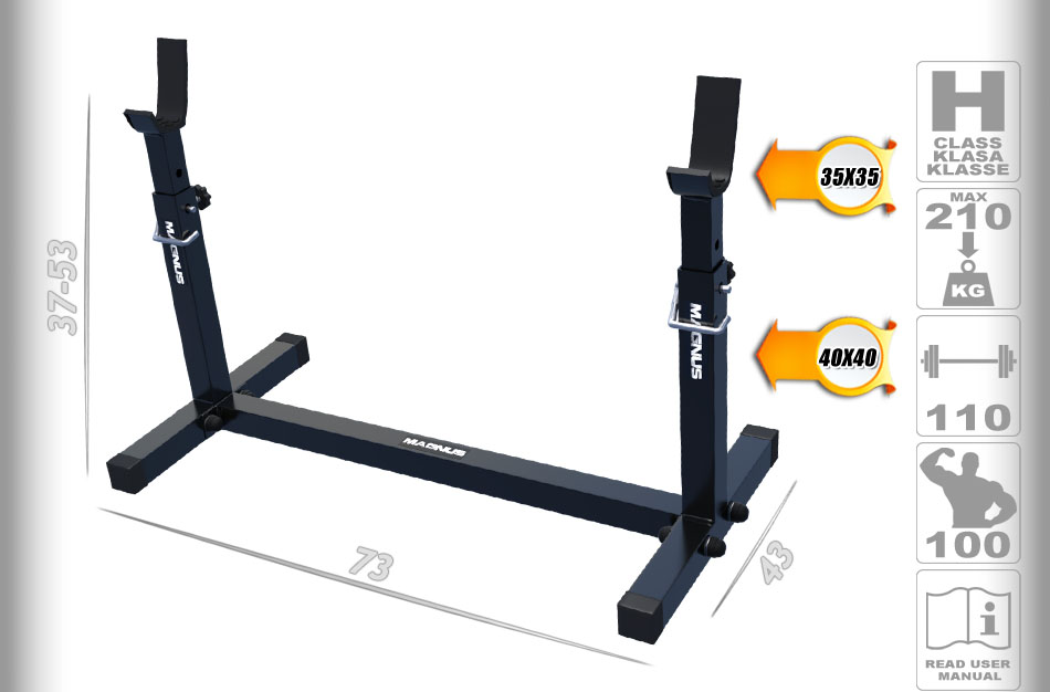 stands for barbells, training stands, stands for squats, solid steel, reinforced stands