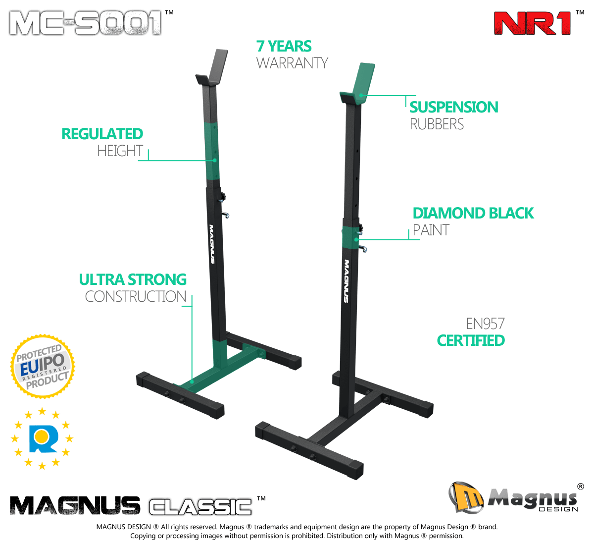 Newest - traing safe thanks to Magnus squat racks for gym exercises
