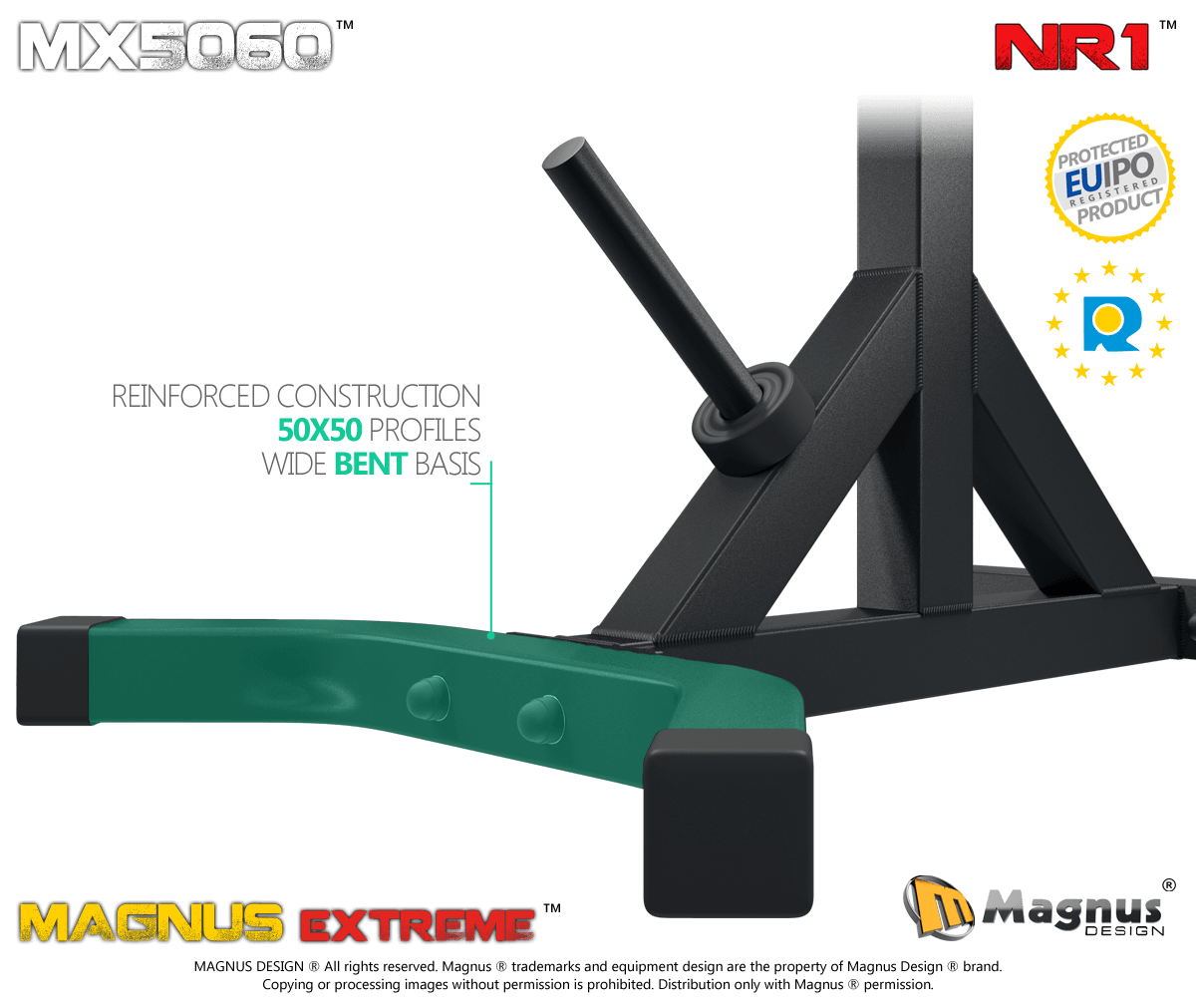 Reinforced construction ensures the stability of the gym barbell stand