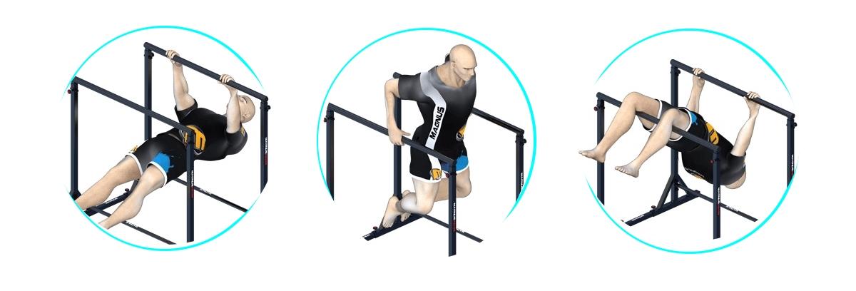 Hochziehen auf Barren Magnus, Training von Dips und Liegestütze
