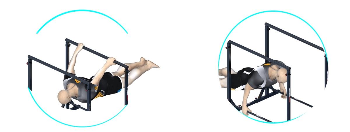 Übungen auf Barren Magnus, Training von Dips und Hebel