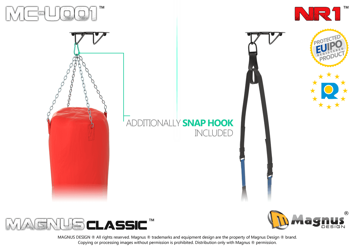 Magnus Wall and Ceiling Mount, training with boxing handle, TRX belts, TRX exercises