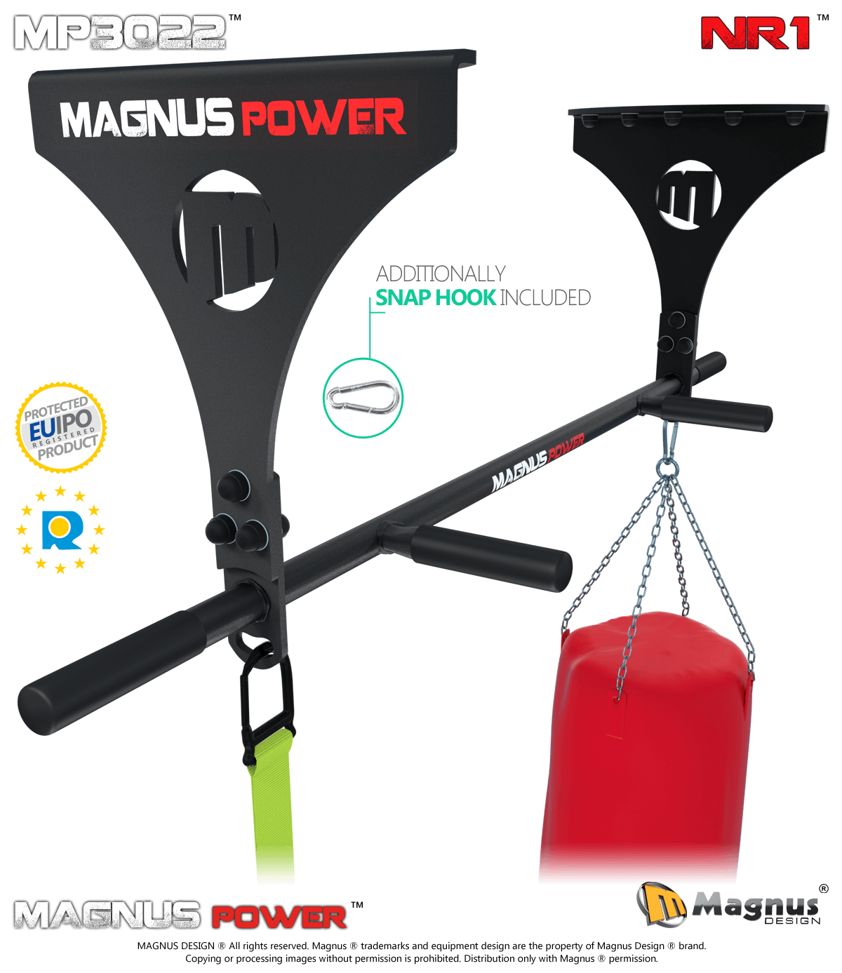 Pullups on Magnus pull up bar, training with heavy bag for boxing, TRX belts exercises