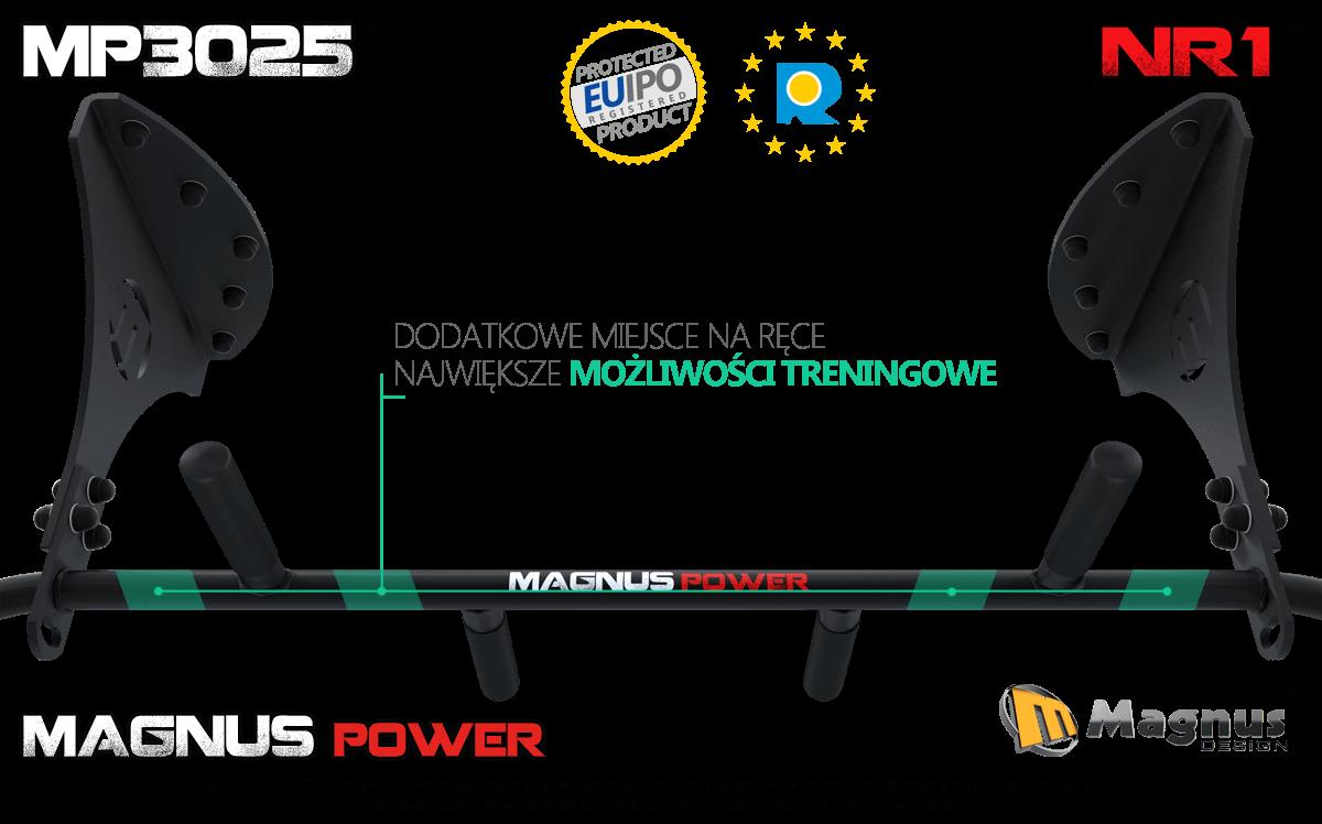 Ergonomicznie wykonany drążek treningowy Magnus, wygodne ćwiczenia na drążku Magnus